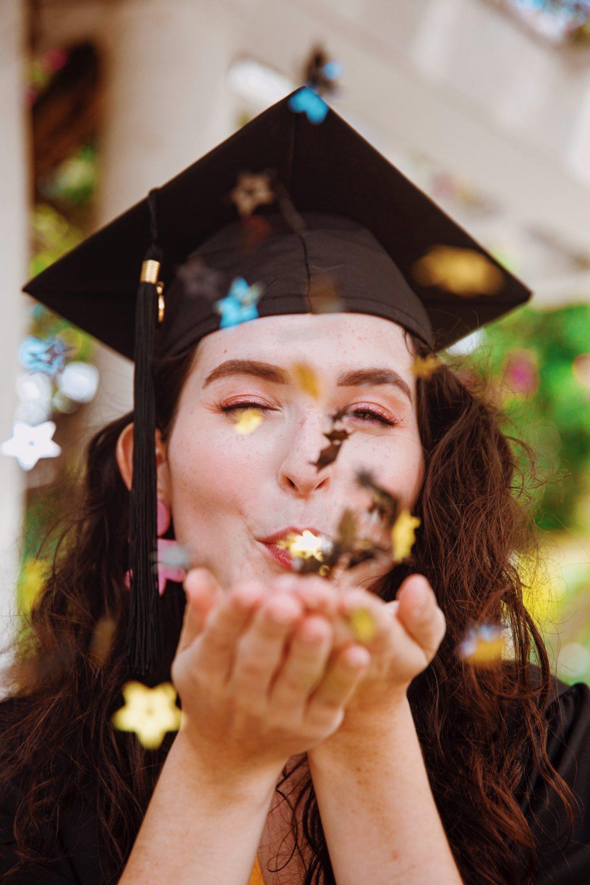 Graduation Posing Ideas - Graduation Picture Reference - Blowing Confetti